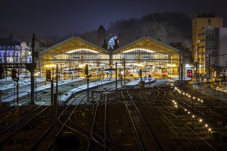 La gare, depuis la passerelle Fournier - Décembre 2016